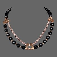 Art Deco style vintage necklace fashioned with black & gold color beads flea market jewelry