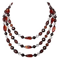 Brown burgundy 3 strand vintage necklace of Murano glass beads crystals and plastic beads statement costume jewelry.