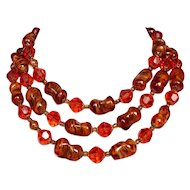 Murano vintage auburn glass bead necklace Venetian crystal beads very long necklace, European costume jewelry.