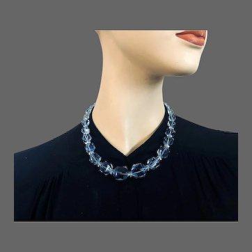 Sapphire blue old Czech crystal bead necklace Prague flea market elegant vintage jewelry