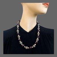 Venetian glass necklace silver foil purple gray bronze tint beads Venice flea market jewelry