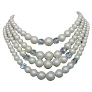 Vintage 4 strands faux pearls and crystals beads necklace elegant costume jewelry