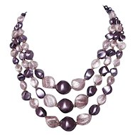Three-strand Tiffany colors -purple violet quartz - vintage faux pearl necklace