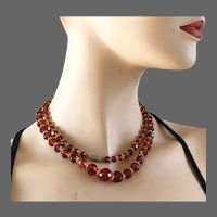 Honey color sparkling Czech crystal beads long necklace vintage costume jewelry design