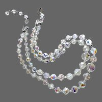 Elegant vintage 2 strand clear AB crystal bead choker clean look flea market jewelry
