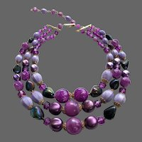 Violet Lilac vintage 3 strand beaded necklace early plastic pearls and beads purple choker costume jewelry