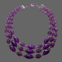 Three strand necklace spectacular violet purple color 1950's plastic bead choker vintage jewelry design