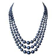 Indigo blue glass pearls 3 strands vintage necklace royal fashion jewelry