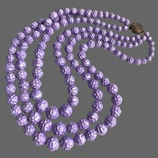 Three strand violet vintage bead necklace old plastic round dimpled beads box tab insert clasp flea market classic jewelry find