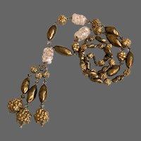 Vintage opera long necklace old lamp work beads flea market jewelry design