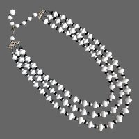 Vintage 3 strand necklace black and white old glass beads costume jewelry Venice Italy flea market choker