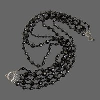 Multi strand black crystal bead vintage necklace Czech flea market jewelry