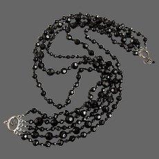 Multi strand black crystal bead vintage necklace Czech flea market jewelry