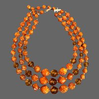 Vintage 3 strand old plastic orange auburn bead necklace Jaffa flea market jewelry