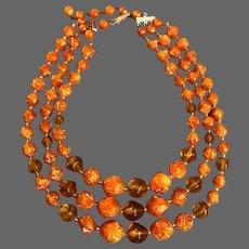 Vintage 3 strand old plastic orange auburn bead necklace Jaffa flea market jewelry
