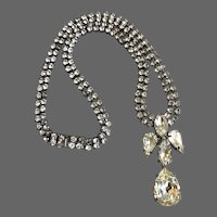 Sparkling old rhinestone necklace crystal drops and marquise pendant box tab insert clasp majestic elegant jewelry upscale