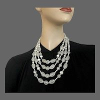 Four strand Milky white hazy look vintage glass bead necklace Prague flea market costume jewelry