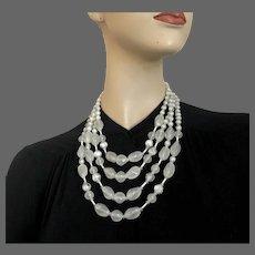 Four strand Milky white hazy look vintage glass bead necklace Prague flea market costume jewelry