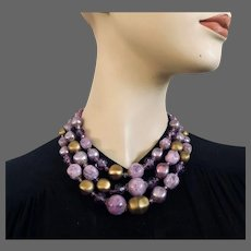 Vintage 3 strand necklace rich lilac violet purple gold bronze color plastic beads majestic costume jewelry