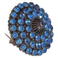 Crystal vintage brooch pendant elegant turquoise color rhinestones fashion jewelry.