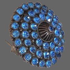 Crystal vintage brooch pendant elegant turquoise color rhinestones fashion jewelry.