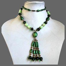 Green vintage Czech glass necklace, sea foam, olive, forest green glass lampwork beads AB crystal and spacer beads brass caps Prague flea market jewelry