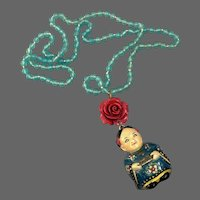 Japanese kimono girl red rose pendant on turquoise old glass bead necklace estate jewelry