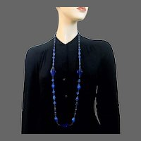 Vintage blue Czech crystal bead long necklace old royal blue rhombus crystal and oat glass beads Prague flea market jewelry