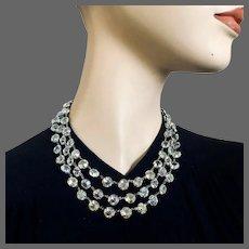 Old Czech AB crystal beads 3 strand vintage necklace elegant dainty choker Prague flea market jewelry