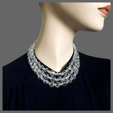 Sparkling old Czech crystal bead choker 3 strand vintage necklace elegant upscale jewelry