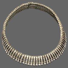 Vintage signed Esha Randel Art Deco rhinestone necklace, classic and chic jewelry circ 1940