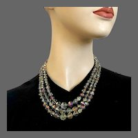 Elegant 3 strand faceted graduated AB bronze crystal bead necklace vintage jewelry design
