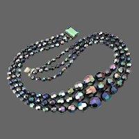 Elegant 3 strand graduated black crystals AB violet green look bead necklace vintage jewelry design