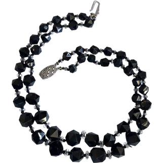 Vintage black triangle faceted crystal bead double strand necklace Silver 935 fishhook clasp upscale.