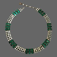 Vintage 3 strand green and grayish clear crystals on flat brass band choker sparkling necklace upscale jewelry