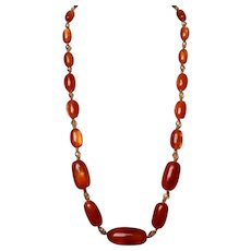 Amber style old Lucite crystal beads long European vintage necklace fashion jewelry