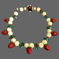 Red Strawberries white lychees green leaves vintage bead necklace flea market jewelry.