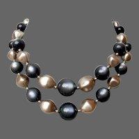 Two strand choker vintage gray and silvery glow old plastic  beads flea market necklace flea market jewelry