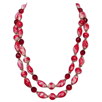 Two strand red pink white glass plastic crystal beads vintage necklace passion jewelry