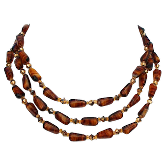 Three strand ocher brown orange European vintage glass and crystal bead necklace estate costume jewelry