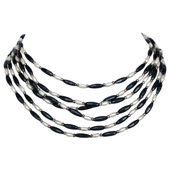 Three strand elongated  black and white old bead necklace estate costume jewelry