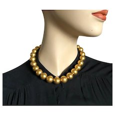 Ann Klein 24K gold plated ball bead necklace choker rich golden costume jewelry.