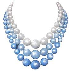 Vintage 3 strand choker blue gray old plastic bead necklace flea market jewelry upscale