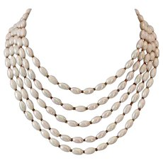Five strand AB vintage ivory-white glass bead necklace upscale jewelry