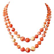 Venetian two strands smoky orange vintage glass bead necklace splendid fashion jewelry