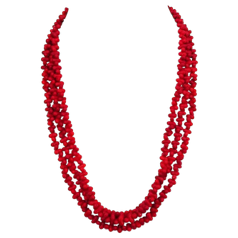 Ruby-red glass coral bead jewelry very long cherry beaded necklace bracelet upscale