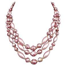 Three strand pink fuchsia vintage jewelry old plastic bead necklace romantic jewelry