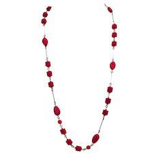 Vintage cherry red glass bead necklace dainty brass links minimalist jewelry