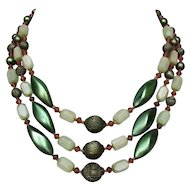 European vintage 3 strand necklace green old plastic and glass beads passion jewelry design