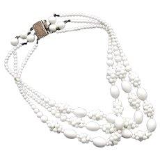 Vintage ivory white glass bead 3 strand necklace 1950's box clasp GM hallmark blackberry jewelry design